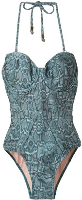 SUBOO Sylvie balconette snake print one-piece