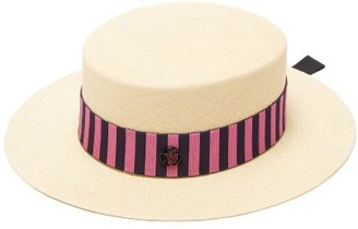 Maison Michel Kiki Striped-band Straw Boater Hat - Pink White