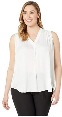 Vince Camuto Plus Size Sleeveless V-Neck Rumple Blouse (New Ivory) Women's Blouse