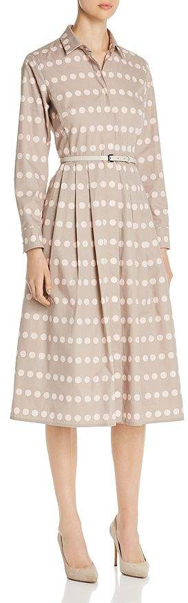 Max Mara Elio Polka Dot Cotton Shirt Dress