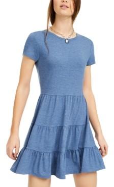 BeBop Juniors' Heathered Tiered T-Shirt Dress