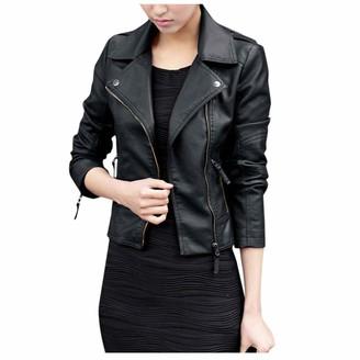 jieGorge Sweatshirt for Women Trendy Leather Zipper Jacket Slim Biker Motorcycle Coat Punk Outwear