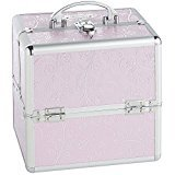 "Beautify Cosmetic Organizer Case - 10"" Professional Aluminum Makeup Storage Box (Pink Rose Beauty Train Case with Lock)"