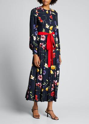 Oscar de la Renta Floral Pleated Midi Dress