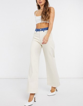 Just Female Sika high-waist contrast jeans in cream