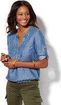 New York & Co. Soho Soft Shirt - Ultra-Soft Chambray - Bubble-Hem Blouse
