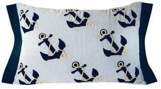 Seersucker Stripe Nautical Anchor Pillow