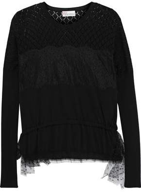 RED Valentino Pointelle-paneled Lace-appliqued Cotton Sweater