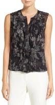 Elie Tahari 'Estella' Sleeveless Ruffle Front Print Silk Blouse
