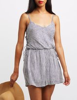 Charlotte Russe Striped Lace-Up Side Romper