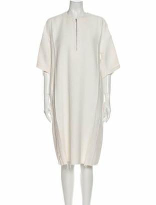 Celine Crew Neck Knee-Length Dress White