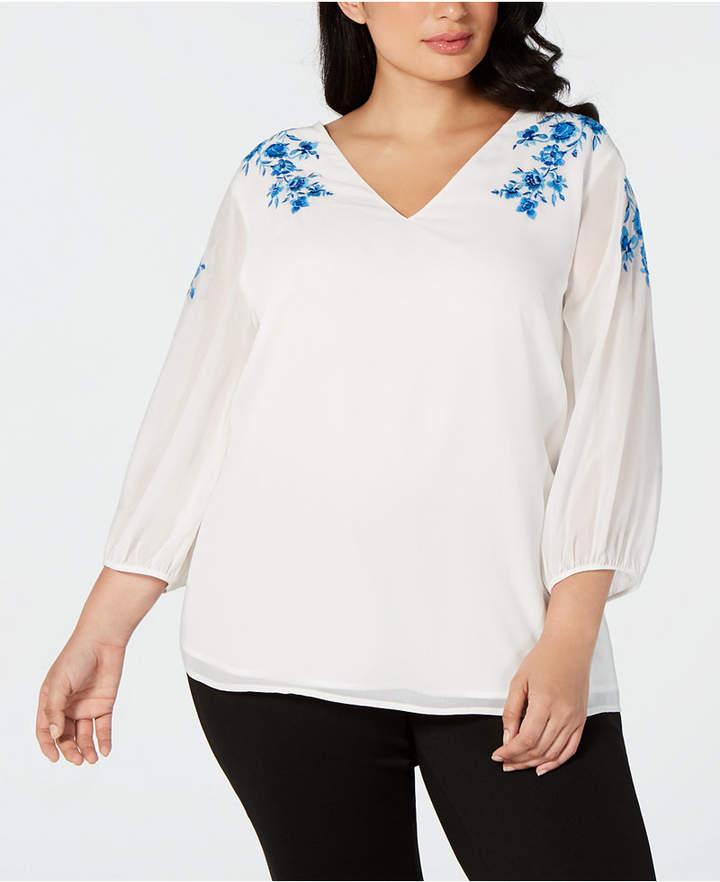 Calvin Klein Plus Size Embroidered Top