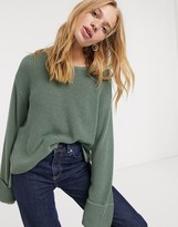 Weekday Danna round neck sweater in dusty green