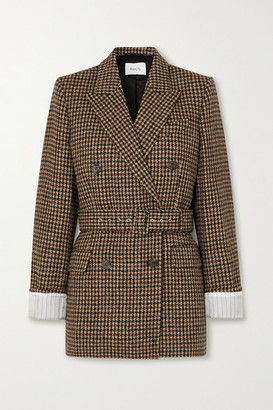 Racil Farrah Belted Double-breasted Houndstooth Wool-tweed Blazer - Brown