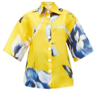 Carolina Herrera Wide-sleeve Rose-print Silk-gazar Shirt - Womens - Yellow Multi