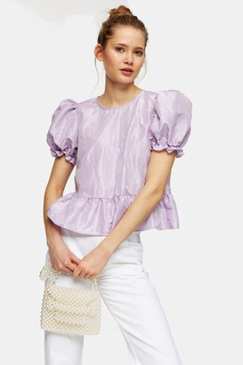 Topshop Lilac Bow Back Taffeta Top