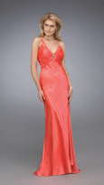 La Femme Stunning V-neck Evening Gown with Bedazzled Brooch 12139