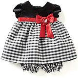 Jayne Copeland 3-24 Months Velvet-Bodice Checked-Skirt Christmas Dress
