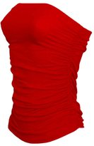 JanisRamone Womens Boobtube Bandeau Strapless Top Both Side Ruched Crop Bra Vest Top