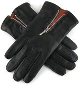 Black and Tobacco Cashmere Lined Leather Gloves with Zip Detail
