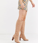 Asos DESIGN Wide Fit Clover premium suede knee high boots in sand