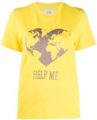Alberta Ferretti embroidered earth T-shirt