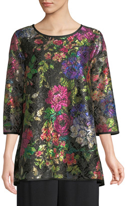 Caroline Rose Petite Midnight Garden 3/4-Sleeve Shimmer Floral-Print Lace Tunic w/ Tank Liner