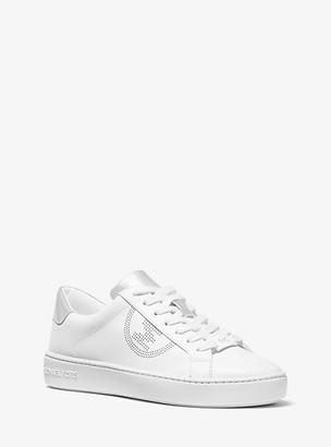 MICHAEL Michael Kors MK Keaton Perforated Logo and Leather Sneaker - Optic White/silver - Michael Kors