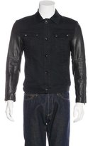 John Varvatos Leather-Trimmed Trucker Jacket