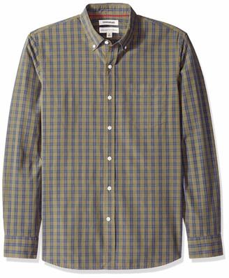 Goodthreads Men's Standard-fit Long-sleeve Plaid Poplin Casual Shirt Blue (Light Lig) Large