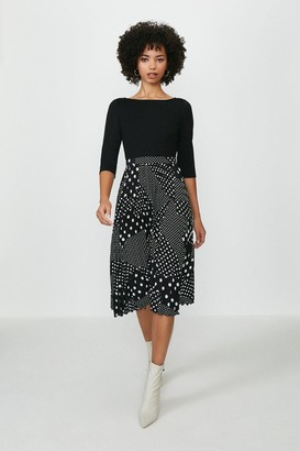 Coast Printed Pleated 3/4 Sleeve Midi Dress