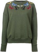 Alexander McQueen moth embroidered sweatshirt - women - Cotton - 42