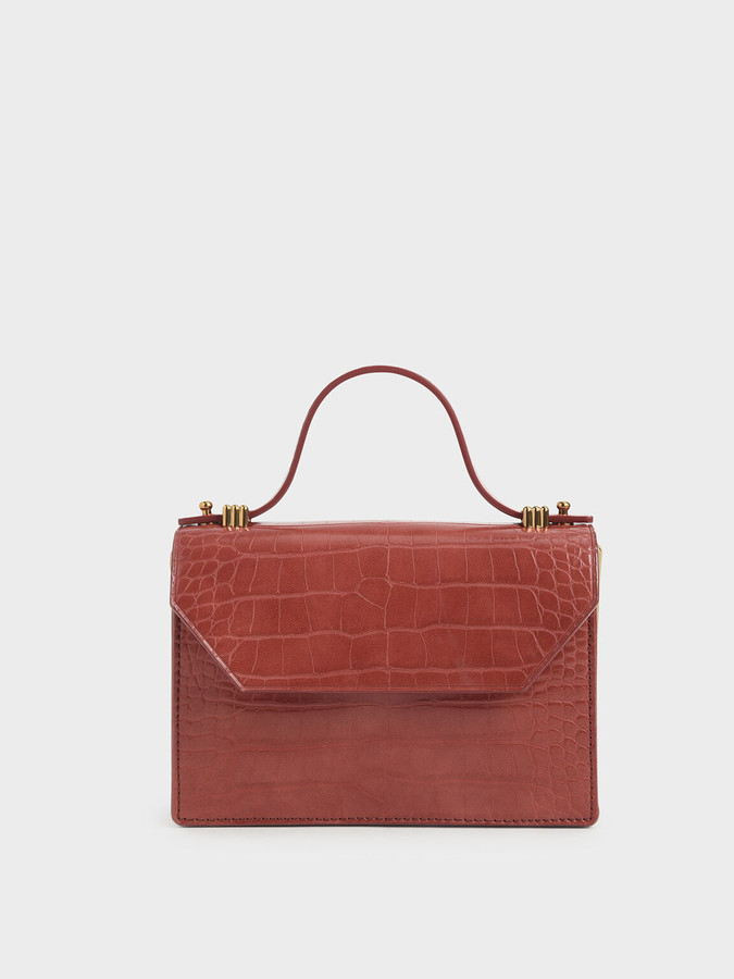 Charles & Keith Croc-Effect Mini Top Handle Clutch