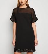 New Look Sequin Trim Mesh Shift Dress