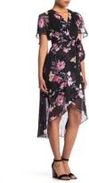 Eliza J Floral Flutter Sleeve High/Low Midi Dress (Petite)