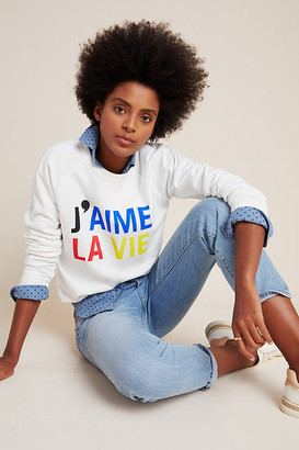 Clare Vivier for Anthropologie J'aime La Vie Sweatshirt By in White Size XS