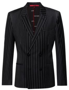 HUGO Double-breasted extra-slim-fit jacket in pinstripe wool