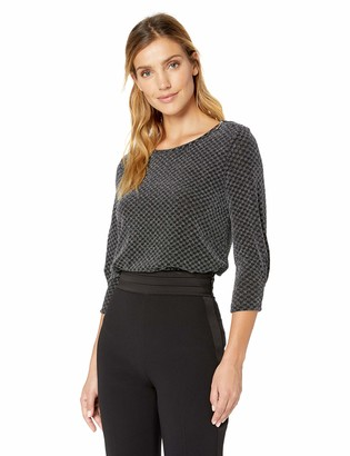 Chaus Women's 3/4 Sleeve Checkered Sparkle Zip Shoulder Top