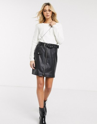 Pieces leather look mini skirt with belt in black