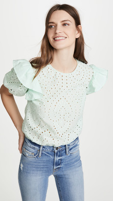 ENGLISH FACTORY Ruffled Puff Sleeve Eyelet Top