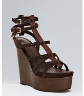 Christian Dior chocolate suede 'Antica' wedge sandals