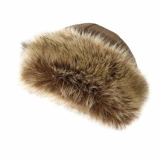 Tuduz Hat Womens Russian Cossack Faux Fur Hat TUDUZ Ladies Girls Winter Hat Fleece Hat with Faux Fur Trim Cloche Hat (Khaki 56-58CM)