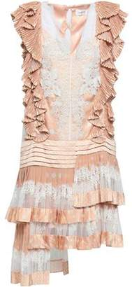 Zimmermann Ruffled Lace-paneled Polka-dot Crepe De Chine Dress