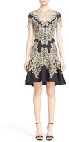 Marchesa Lace Appliqué Crepe Fit & Flare Dress
