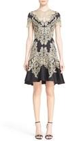 Marchesa Women's Lace Applique Crepe Fit & Flare Dress