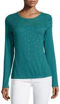 Neiman Marcus Sequined Sheer-Yoke Sweater