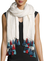 San Diego Hat Company Multicolor Tassel Long Scarf, White