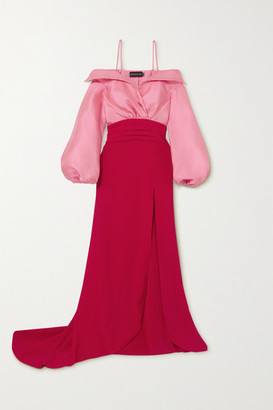 Brandon Maxwell Cold-shoulder Two-tone Twill And Crepe Gown - Red