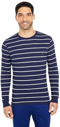 Polo Ralph Lauren Midweight Waffle Thin Stripe Long Sleeve Crew (Cruise Navy Nevis Stripe/RL2000 Red) Men's Clothing