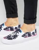 Asos Slip On Plimsolls In Floral Tropical Print